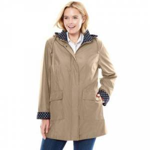 Woman Within Plus Size Women's Raincoat in new short length with fun dot trim by Woman Within in New Khaki (Size 20 W)