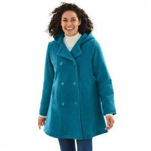 Woman Within Plus Size Women's Double-Breasted Hooded Fleece Peacoat by Woman Within in Deep Teal (Size 20 W)