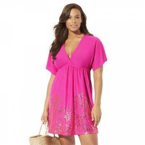 Swimsuits For All Plus Size Women's Kate V-Neck Cover Up Dress by Swimsuits For All in Pink (Size 18/20)
