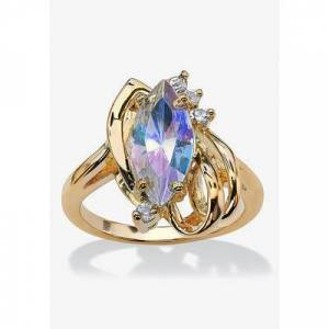 Woman Within Plus Size Women's Aurora Borealis Crystal Ring by Woman Within in Yellow Gold (Size 10)