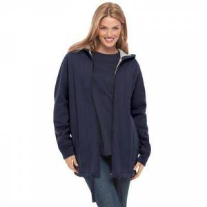 Woman Within Plus Size Women's Thermal Lined Fleece Hoodie by Woman Within in Navy (Size 18/20)
