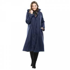 Woman Within Plus Size Women's Water repellent long raincoat by Woman Within in Navy (Size 20 W)