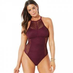Swimsuits For All Plus Size Women's Crochet High Neck One Piece Swimsuit by Swimsuits For All in Wine (Size 20)