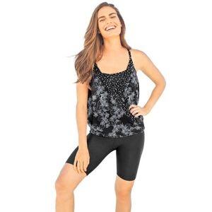 Swim 365 Plus Size Women's Faux-Wrap Tankini Top by Swim 365 in Black White Stencil Floral (Size 14)