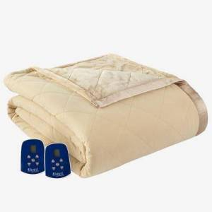 Shavel Home Products Micro Flannel Reverse to Ultra Velvet Electric Blanket by Shavel Home Products in Camel (Size QUEEN)