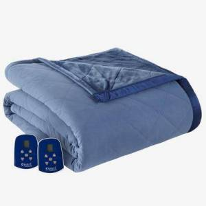 Shavel Home Products Micro Flannel Reverse to Ultra Velvet Electric Blanket by Shavel Home Products in Indigo (Size QUEEN)