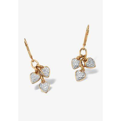 PalmBeach Jewelry Plus Size Women's Gold over Sterling Silver Heart Charm Drop Earrings with Diamond Accents by PalmBeach Jewelry in Diamond
