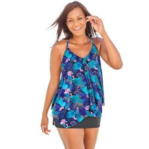 Swim 365 Plus Size Women's Longer Length Mesh Tankini Top by Swim 365 in Multi Tropical Floral (Size 14)