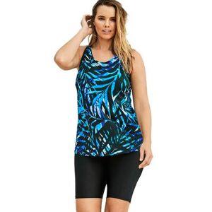 Swim 365 Plus Size Women's Longer Length Tankini Top by Swim 365 in Blue Painterly Leaves (Size 14)