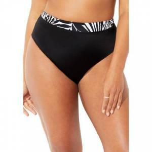 Swimsuits For All Plus Size Women's High Waist Bikini Bottom by Swimsuits For All in Black White Palm (Size 18)