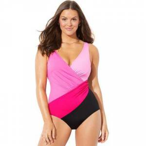 Swimsuits For All Plus Size Women's Colorblock Surplice One Piece Swimsuit by Swimsuits For All in Pink (Size 14)