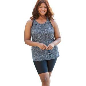 Swim 365 Plus Size Women's Longer Length Tankini Top by Swim 365 in Black White Leopard (Size 14)