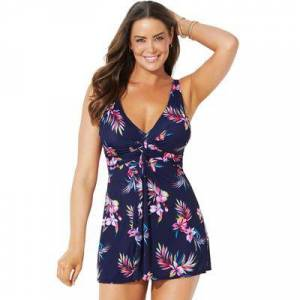 Swimsuits For All Plus Size Women's Twist Front V-Neck Swimdress by Swimsuits For All in Multi Floral (Size 20)