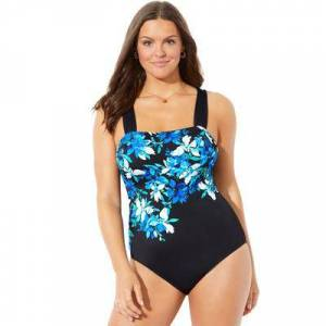 Swimsuits For All Plus Size Women's Square Neck Engineered One Piece Swimsuit by Swimsuits For All in Blue Floral (Size 14)