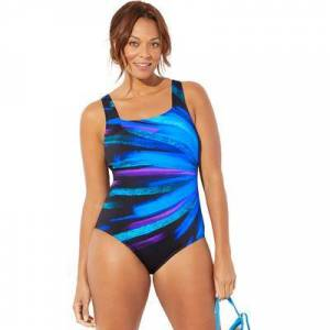 Swimsuits For All Plus Size Women's Chlorine Resistant Lycra Xtra Life Square Neck One Piece Swimsuit by Swimsuits For All in Blue Starburst (Size 14)