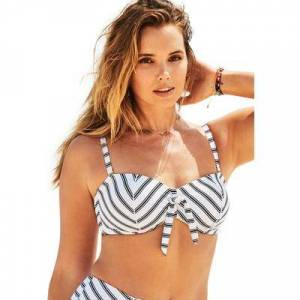 Swimsuits For All Plus Size Women's Scout Underwire Bikini Top by Swimsuits For All in Black White Stripe (Size 14)