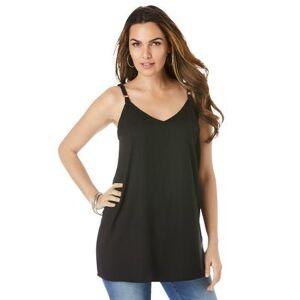 Roaman's Plus Size Women's V-Neck Cami by Roaman's in Black (Size 14 W)