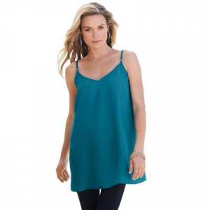 Roaman's Plus Size Women's V-Neck Cami by Roaman's in Deep Teal (Size 14 W)