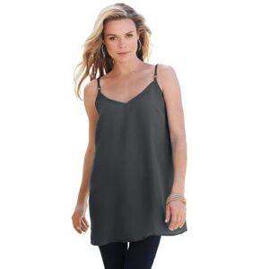 Roaman's Plus Size Women's V-Neck Cami by Roaman's in Dark Charcoal (Size 14 W)