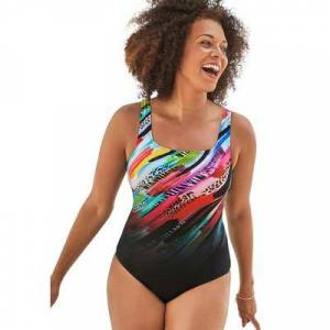 Swimsuits For All Plus Size Women's Tank One Piece Swimsuit by Swimsuits For All in Multi Animal (Size 14)