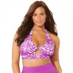 Swimsuits For All Plus Size Women's Contessa Halter Bikini Top by Swimsuits For All in Beach Rose Palm (Size 14)
