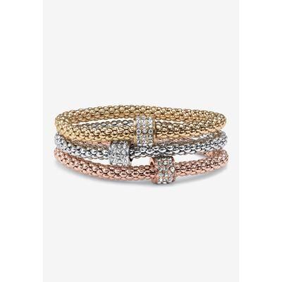 PalmBeach Jewelry Plus Size Women's 3-Piece Tritone Stretch Bracelet (5.5mm), Round Crystal in Goldtone by PalmBeach Jewelry in Gold