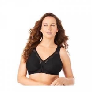 Exquisite Form Plus Size Women's Front-Close Cotton Lace Wireless Posture Bra 5100531 by Exquisite Form in Black (Size 36 B)