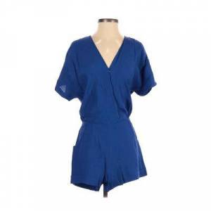 Vincent Twelfth Street by Cynthia Vincent Romper: Blue Solid Rompers - Size Small