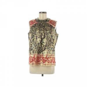 Anna Sui Sleeveless Blouse: Gold Print Tops - Size 8