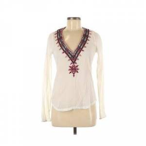 Vincent Twelfth Street by Cynthia Vincent Long Sleeve Blouse: Ivory Solid Tops - Size P