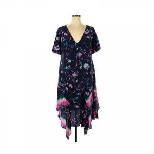 Taylor Tanya Taylor Casual Dress - A-Line: Blue Floral Dresses - Used - Size 20
