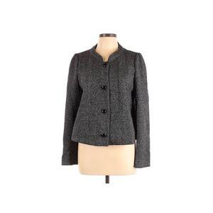 Armani Collezioni Jacket: Gray Solid Jackets & Outerwear - Size 10