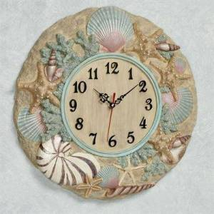 Touch of Class At the Beach Wall Clock Natural , Natural