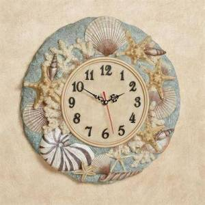 Touch of Class At the Beach Wall Clock Blue , Blue