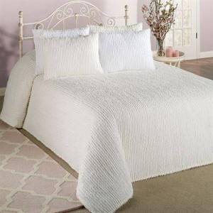 Beatrice Home Fashions/Bed Channel Chenille Bedspread, Twin, White