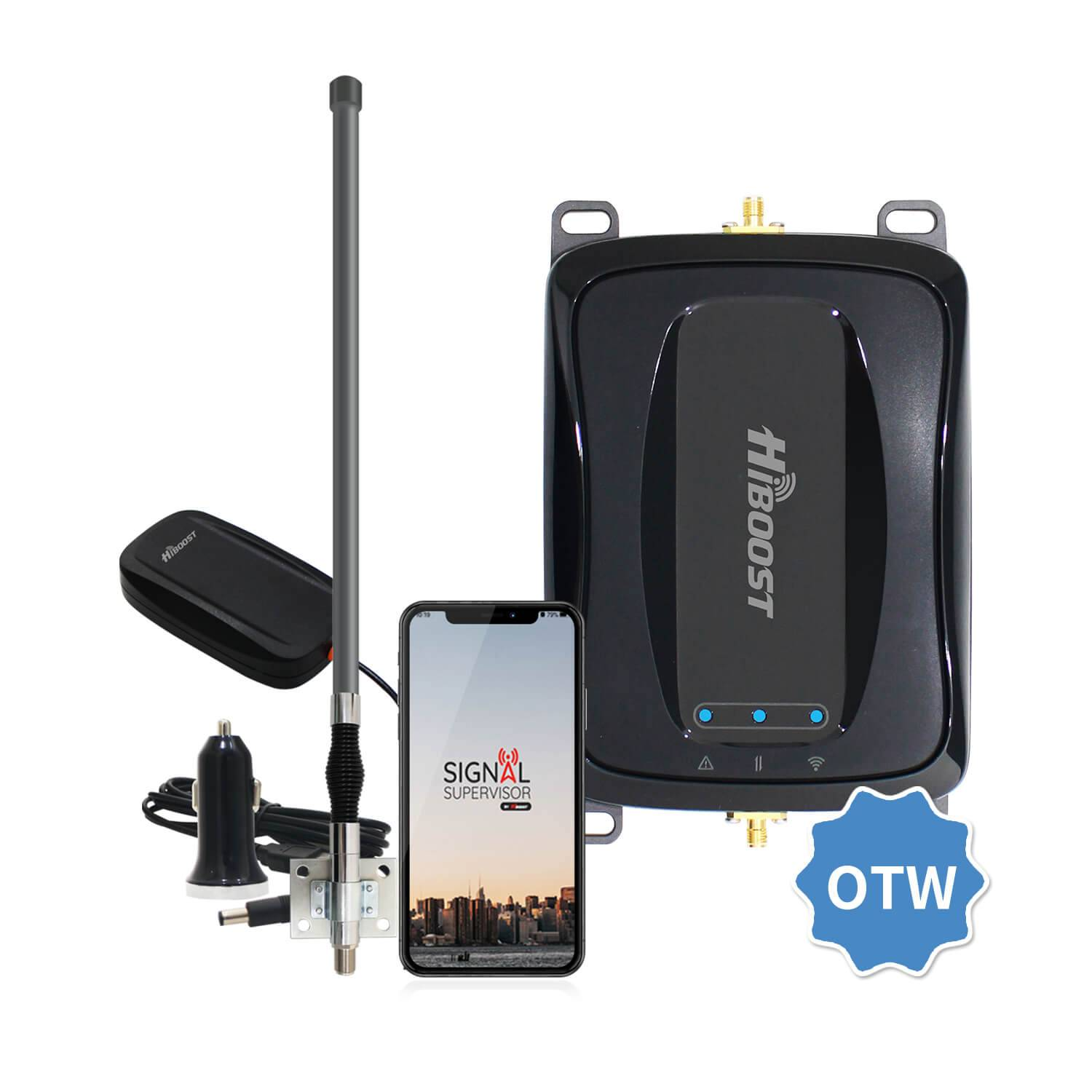 HiBoost Cell Phone Signal Booster for RV Trucks, Travel 4G 2.0 OTW for RV Truck Van Signal Booster, AT&T T-Mobile Sprint Verizon Truck Cell Phone Amplifier