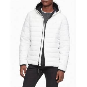 Calvin Klein Men's Packable Lightweight Full Zip Puffer Jacket - White - XXL