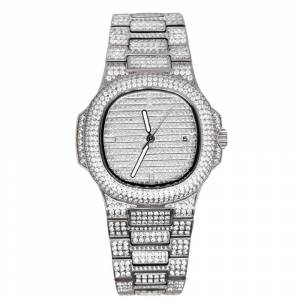 HipHopBling Modern CZ Stainless Steel Watch in White Gold
