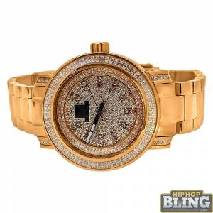 HipHopBling .75 Carat Diamond Queen IceTime Womens Watch Rose Gold