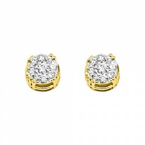 HipHopBling 14K Yellow Gold 0.25 Carats Diamond Solitaire Cluster Earrings