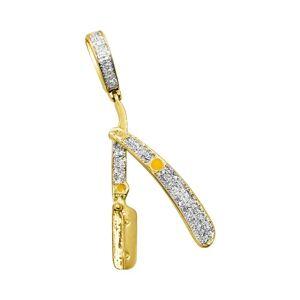 HipHopBling Barber Straight Razor Diamond Pendant .26cttw 10K Yellow Gold