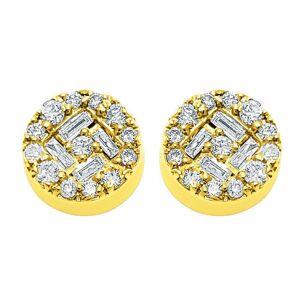 Deep Baguette Circle Diamond Earrings .43cttw 10K Yellow Gold