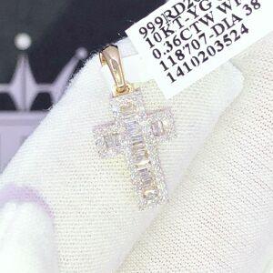 HipHopBling Nano Block Cross Baguette Diamond Pendant .36cttw 10K Yellow Gold
