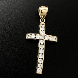 HipHopBling Domed Channel Tennis Cross CZ 10K Yellow Gold Pendant