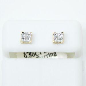 HipHopBling Invisible Setting Princess Cut .50cttw Diamond 14K Yellow Gold Earrings
