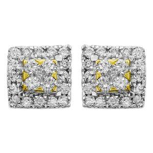 Double Box Diamond Earrings .45cttw 10K Yellow Gold