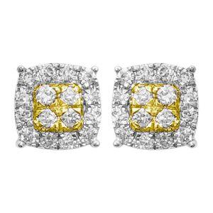 HipHopBling Cushion Cluster Diamond Earrings .30cttw 10K Yellow Gold