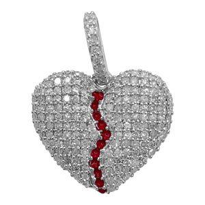 HipHopBling Broken Heart Diamond Pendant 0.50 Carat 10K White Gold