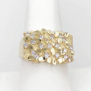 CZ Golden Nugget 10K Yellow Gold Mens Ring