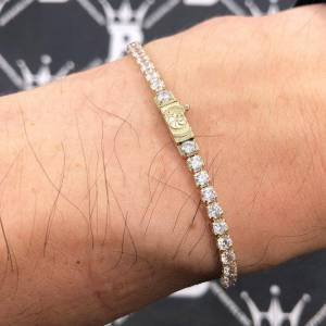 Solid 10K Yellow Gold Tennis Bracelet 3MM VVS Simulated